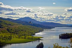Flying over the loch. The queens view Royalty Free Stock Photos