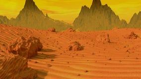 Flying over Mars landscape stock video footage