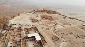 Flying over Masada fortress area Southern District of Israel Dead Sea area Southern District of Israel. Ancient Jewish stock video footage