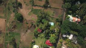 Flying over Mauritius Island with houses and farmlands. Aerial view of coastal line, houses among the palms and farmlands on Mauritius Island stock footage