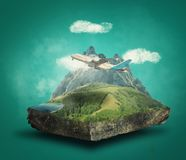 Flying over mountains royalty free stock photos