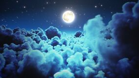 Flying over the night time lapse clouds with moon light seamless. Looped 3d Animation of Flight Through the Midnight