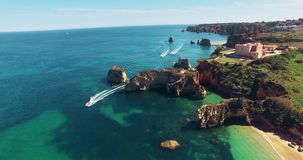 Flying over the ocean and cliffs stock video footage