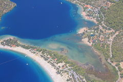 Flying over Oludeniz Royalty Free Stock Images