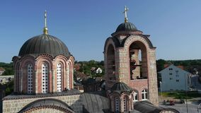 Flying over the orthodox church in Serbia. stock video