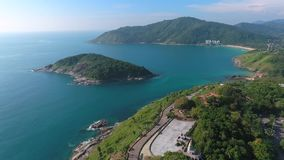 Flying over Promthep Cape on Phuket island. HD aerial slowmotion. Thailand stock footage