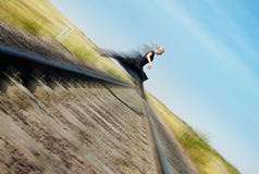 Flying over railway Royalty Free Stock Photo