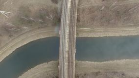 Flying over the railway.over the bridge stock footage