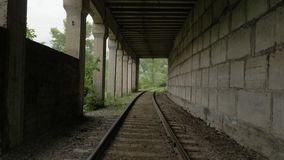 Flying over the railway in tunnel.  stock footage