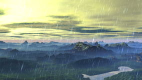 Flying over the rainy mountain