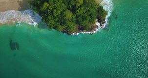 Aerial drone view of Red Frog Beach in Bocas del Toro, Caribbean, Panama. Flying over Red Frog Beach in Bastimentos Island, Bocas del Toro, Panama stock video