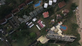 Flying over residential area Mauritius Island stock video footage