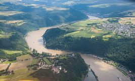 Flying over the Rhine river royalty free stock images