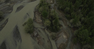 Flying over the river in cloudy weather. stock video footage