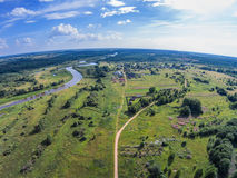 Flying over the river Mologa near the village of Telsovo. Shooting from height of the bird`s flight. Maksatikhinsky District, Tver Region Stock Images