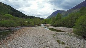 Flying over the river Nevis stock footage