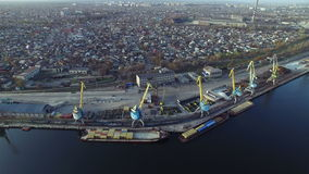 Flying over the river port stock footage