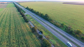 Flying Over The Road Highways stock footage