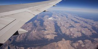 Flying over the Rockie Mountains Stock Photography