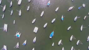 Flying over sailboats Stock Images