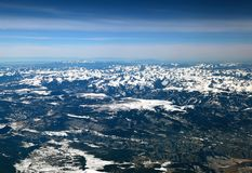 The San Juan mountains in the Colorado Rockies. Flying over the San Juan mountains covered in snow in winter in the Colorado rockies stock photography