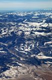 The San Juan mountains in the Colorado Rockies. Flying over the San Juan mountains covered in snow in winter in the Colorado rockies stock image