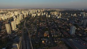 Flying over Sao Paulo city in Brazil stock video
