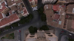 Flying over Serranos Towers in Valencia, Spain stock video footage