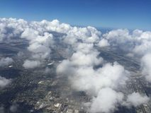 Flying over south Florida before hurricane stock photo
