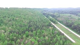 Flying over the speedway in Alabama state, USA. Forest in Background
