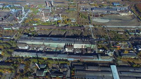Flying over the steel factory. Autumn. aerial survey stock video