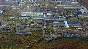 Flying over the steel factory. Autumn. aerial survey stock footage