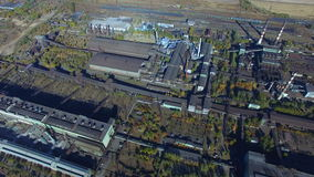 Flying over the steel factory. Autumn. aerial survey stock video footage