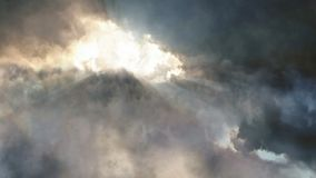 Flying over the storm clouds stock footage