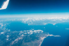 Flying over strait of Gibraltar Royalty Free Stock Photo