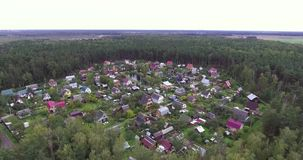 Flying over summer village with wooden houses. Aerial view. Coniferous forest stock video