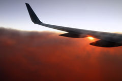Flying Over The Sunset Stock Photography