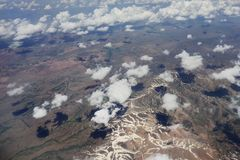 Flying over Syria. Ten kilometers  high over clouds. Stock Images