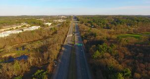 US route 3 Highway aerial view, Massachusetts, USA