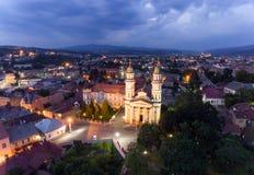 Flying over Uzhgorod city Ukraine Stock Photo
