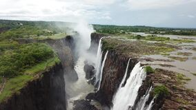Flying over Victoria Falls Waterfalls in Zambia and Zimbabwe