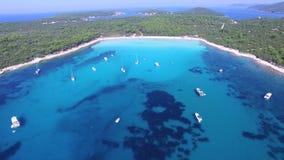 Flying Over Yachts And Sailing Boats At A Dalmatian Bay Stock Photo