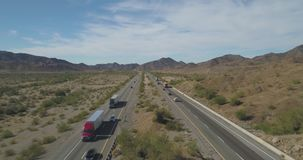 Drone shot of a desert interstate stock video
