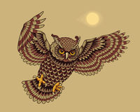 Flying owl bird Stock Photography