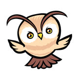 Flying owl cartoon Royalty Free Stock Images