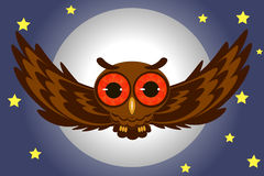 Flying owl illustration. Owl isolated on black background vector illustration Royalty Free Stock Images