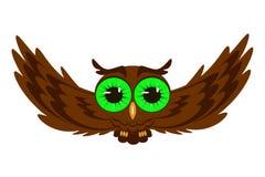 Flying owl illustration. Owl isolated on white background vector illustration Royalty Free Stock Photos