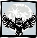 Flying Owl Moon Color Royalty Free Stock Image