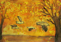 Flying owl. S in the autumn forest child art Stock Photo