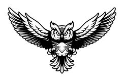 Free Flying Owl With Open Wings And Claws Logo Mascot In Sport Style Stock Image - 138975131